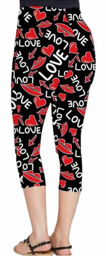 Womens Love Lips Butterfly Flag Print Skinny Stretchy Workout 3//4 Leggings 8-26