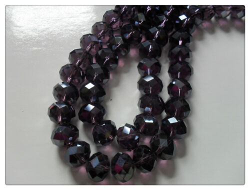 Various Colours Available 12mm x 8mm 15 x Faceted Glass Rondelle Beads
