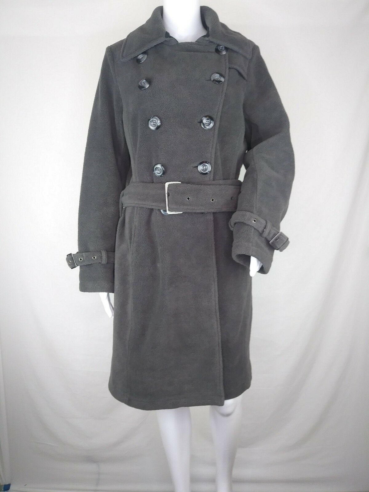Kial Womens coat medium fleece doubled breasted 3 4 peacoat  grey belted
