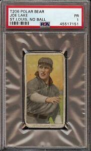 Rare 1909-11 T206 Joe Lake No Ball Polar Bear Back St. Louis PSA 1