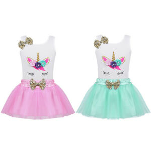 10ead3fd5aab 2pcs Baby Girls Cartoon Tank Top+Tulle Skirt Outfit Kids Sequins ...