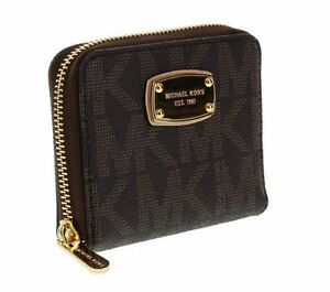 4c7f967bf76e Michael Kors Signature Jet Set Zip Around Bifold Wallet 35H2GJSZ5B Brown