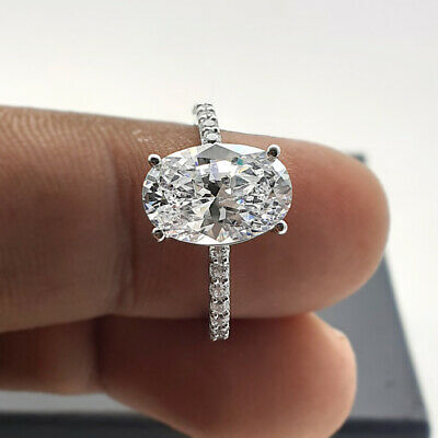 3Ct Oval-Cut D//VVS1 Diamond Solitaire Engagement Ring 14K Yellow Gold Finish