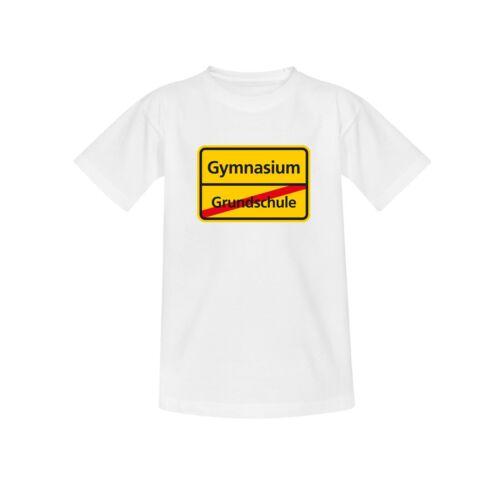 Kinder 98-164 T-Shirt Schild Grundschule//Gymnasium Schulanfang Geschenk 10 Farb