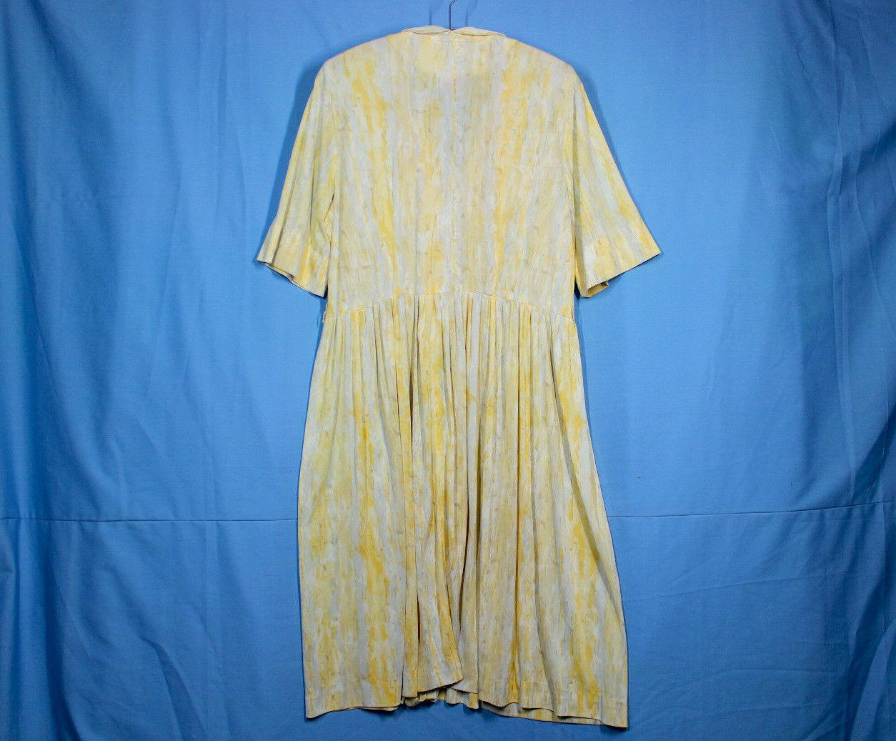 Vtg 60s Knit Dress XXL w37 Plus Shirt Rayon Pussy… - image 8