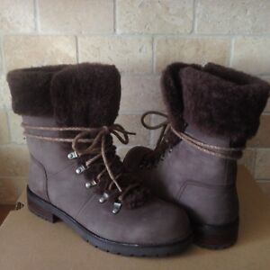 f97aa724b5a Details about UGG Fraser Exposed Fur Stout Water-resistant Leather Combat  Boots Size 10 Womens