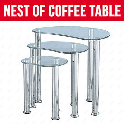 MODERN CLEAR GLASS NEST OF 3 COFFEE TABLE SIDE END TABLE LIVING ROOM