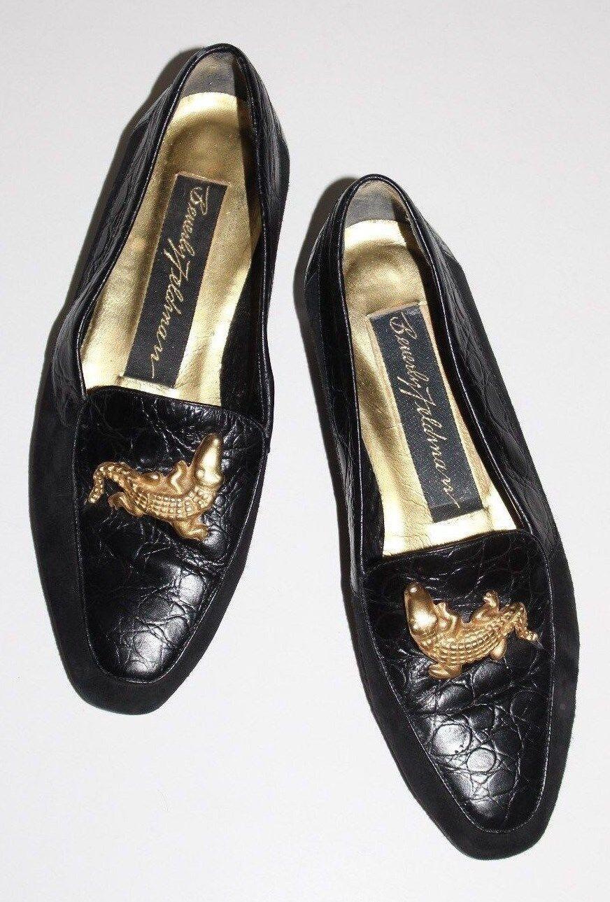 Beverly Feldman 5.5 M M M Black Leather Suede Loafer gold Alligator Flat Heel UF Moc 4a84e1