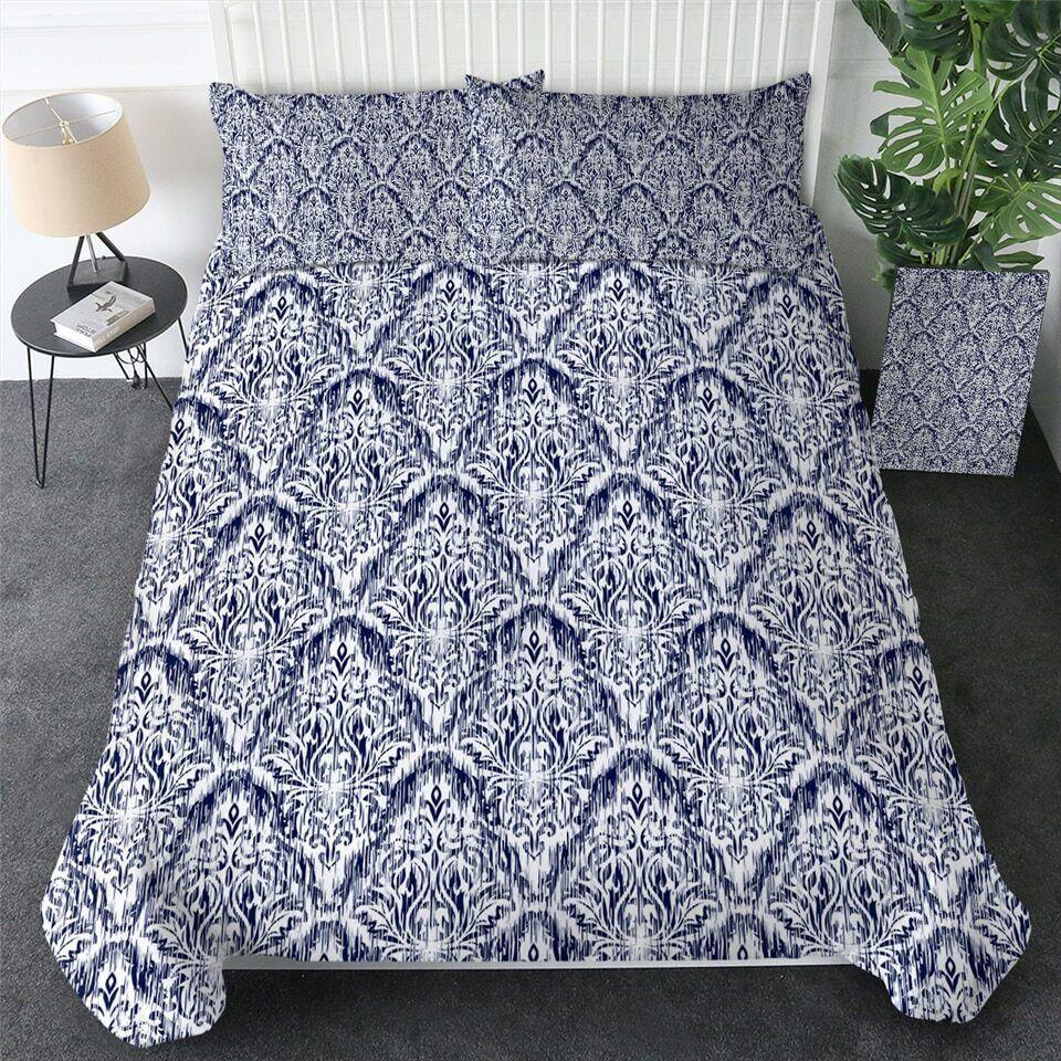 Blau Weiß Floral Elegant Retro Double Single Quilt Duvet Pillow Cover Bed Set