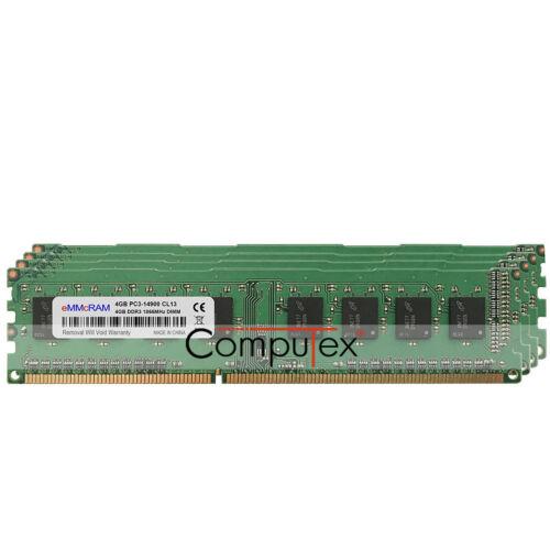 16GB KIT 4X4GB PC3-14900 DDR3-1866MHz 240Pin CL13 DIMM Desktop Low Density RAM