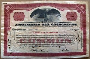 Stock-certificate-Appalachian-Gas-Corporation-1930-100-Shares-with-2-stamps