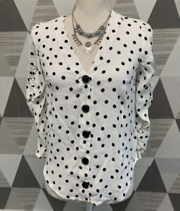 Maeve Anthropologie Women's Size XS White Polka Dots 3/4 Sleeve Top Blouse #2F3