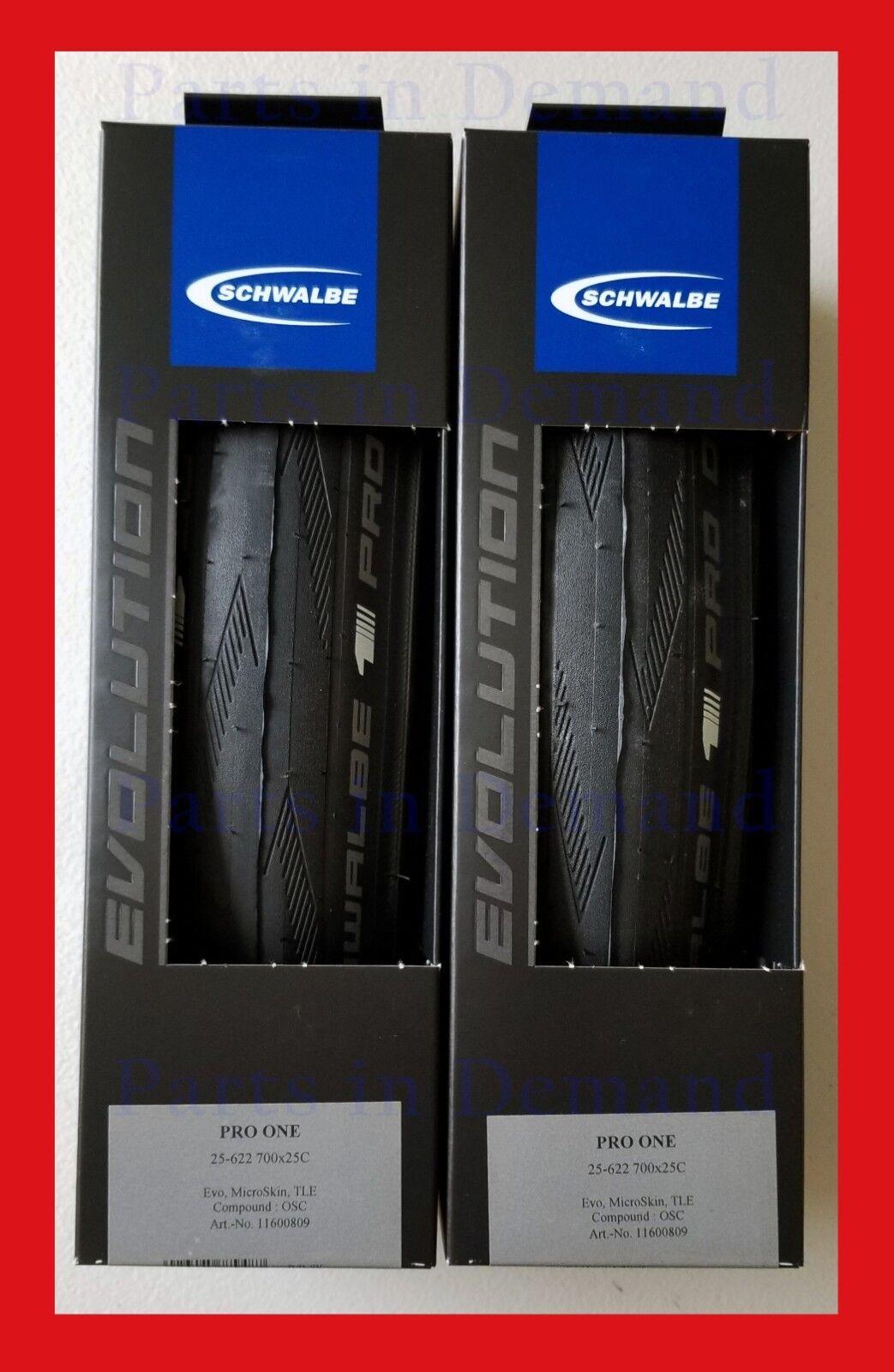 2019 Schwalbe PRO ONE Tubeless Clincher 700 x 25 PAIR 2 Road Bike Tire Microskin
