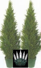 "2 Artificial 48"" Outdoor Cedar UV Topiary Tree Christmas Lights 4' Cypress Pine"