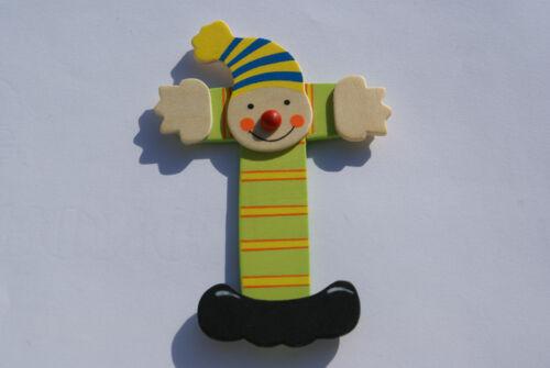 Lettre prenom de porte clown en bois T vert Décoration de porte jeu et jouets**