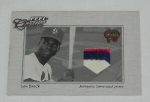 LOU-BROCK-2001-Fleer-Feel-the-Game-Classics-3-Color-Game-Used-Patch-Card