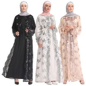Muslim Women Lace Sequin Open Cardigan Maxi Dress Kimono Abaya Robe ... a23ce0298850