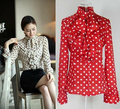 2015 Women's Clothes Ruffle Front high neck polka dot Print Top Shirt Blouse Uo5