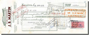 Letra de cambio - J.B MARTIN Fábrica de zapatos a Helechos 1953