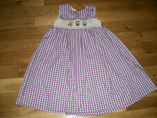 Smocked Kellys Kids Purple White Checked Hula Skirt Teddy Bear Girls Dress Sz 5