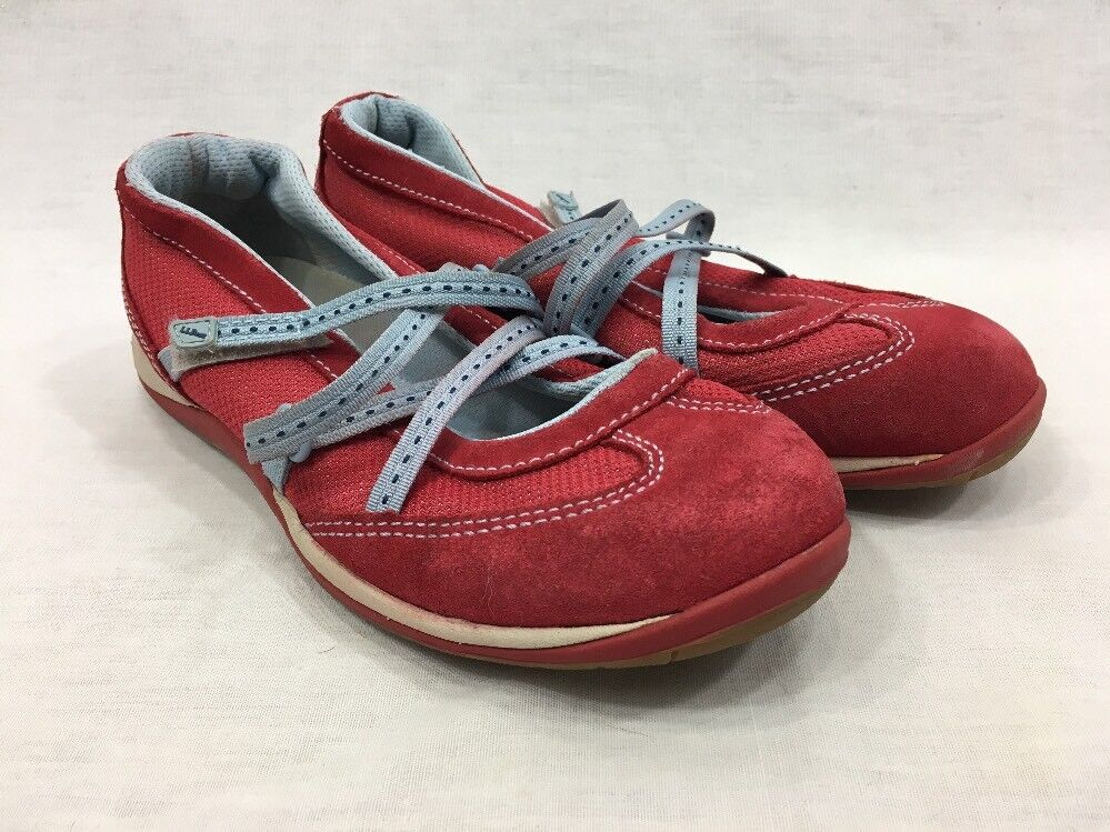 LL Bean Strappy shoes Sneakers Womens 6.5 Comfort Walking Red bluee Mary Janes