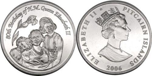 elf Pitcairn Isl 1 Dollar 2006 Queen Elizabeth II 80th