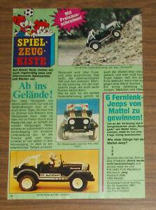 Vintage 1981 Mattel DRIVE COMMAND Jeep Renegade Review Print Ad advert German