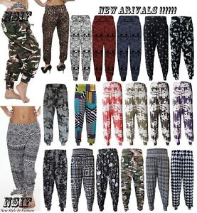 511fe21a175 Ladies Plus Size Printed Harem Pants Cuffed Bottom Ali Baba Womens ...