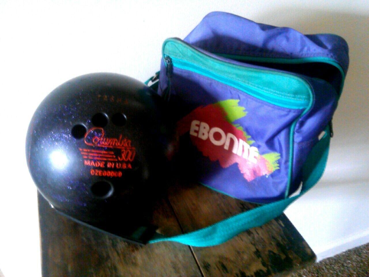 Vtg Purple Sparkle Columbia 300 White Dot Bowling Ball OZE00009 Tasha 8.5