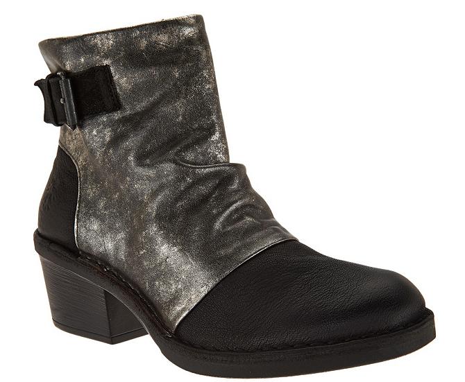 FLY London Leather Block Heel Boots - Dape Black EU37 US 6.5 NEW