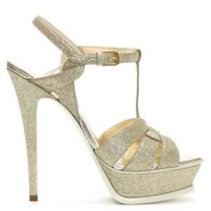 15bb2af2f87 Details about Saint Laurent Paris Tribute Glitter 135mm Platform Sandal,  Gold 40 US 10 $995