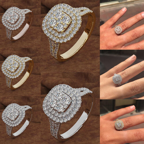 Women Rings 925 Silver Gold Plated Crystal Rings Rhinestone Wedding Party Gifts