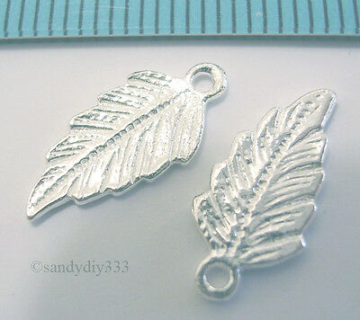 2x STERLING SILVER BRIGHT DANGLE LEAF CHARM PENDANT 15mm #407