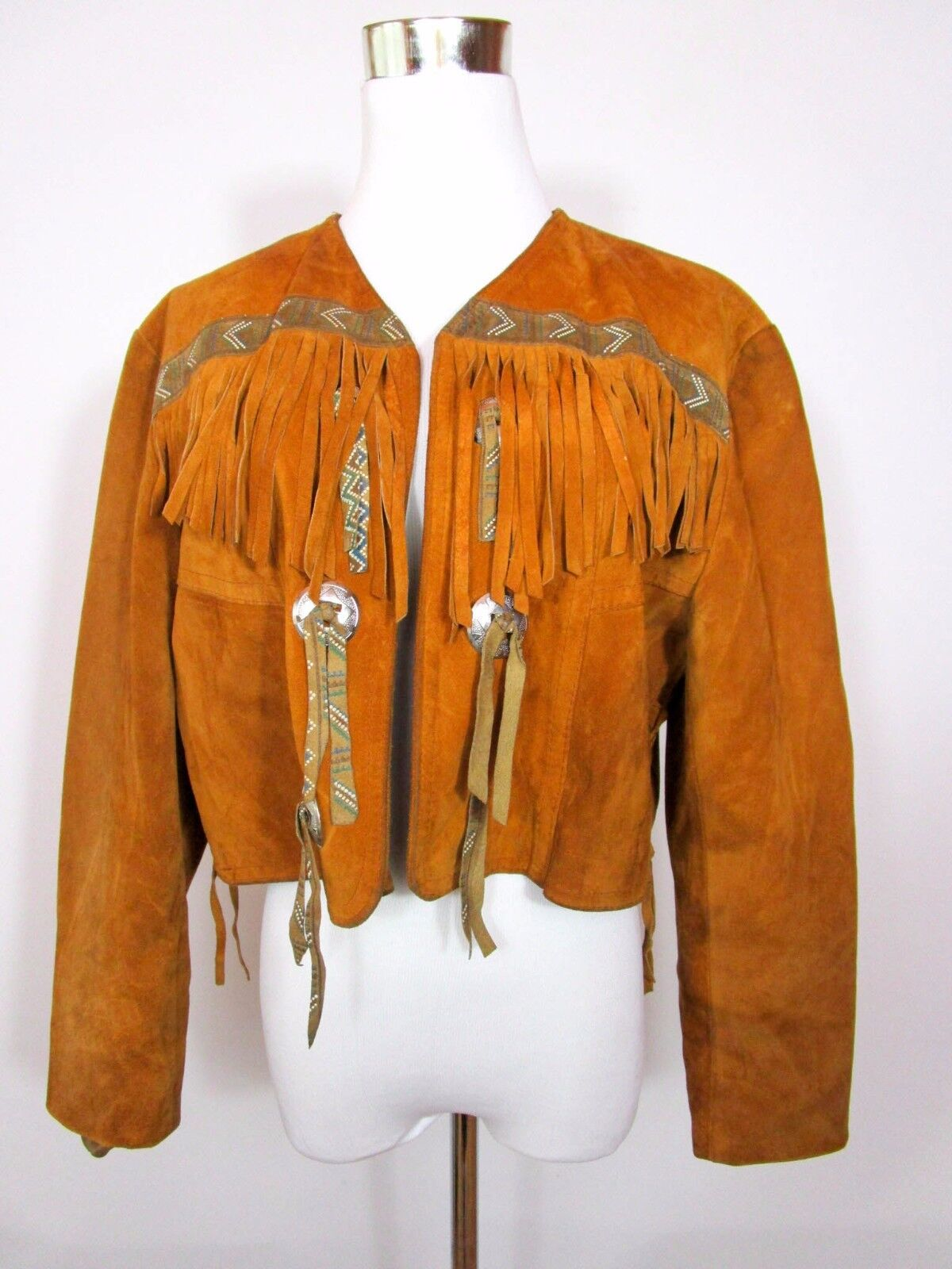 GIORGIO Made in France damen Vtg Leather Tassel Casual Fashion Crop Jacket BA85