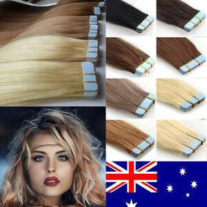 TAPE-IN-100-Virgin-Remy-Human-Hair-Extensions-Platinum-Blonde-Piano-20-60pcs-AU