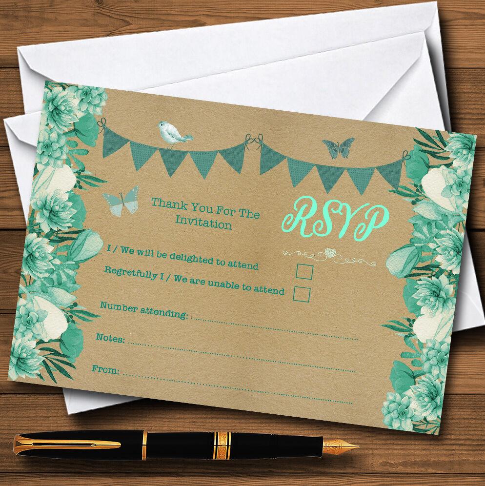 Alzavola & & MENTA verde RUSTIC Bunting & Alzavola Floreale Personalizzati RSVP CARDS 05e6e7
