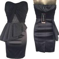New Karen Millen Black Peplum Corset Satin Dress UK Sizes Evening Cocktail Party