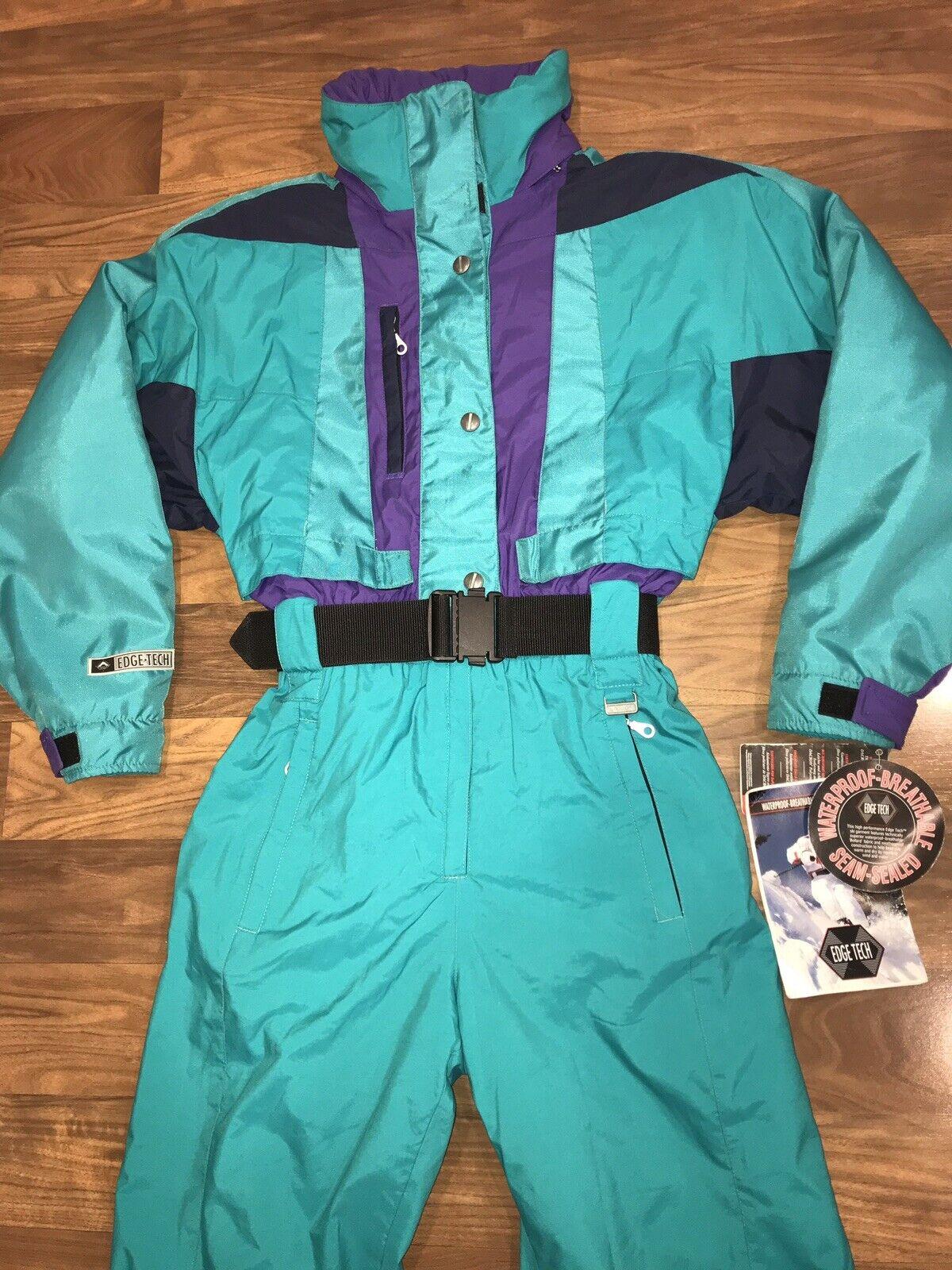 NEW Teal EDGE TECH Womens 10 One piece SKI SUIT Snow Bib vtg Snowsuit WATERPROOF