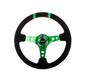 NRG-REINFORCED-STEERING-WHEEL-350MM-SUEDE-3IN-DEEP-GREEN-FOR-W-DOUBLE-STRIPES