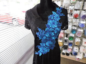 BLUE BODICE POLYESTER ORGANZA EMBROIDERED LACE APPLIQUE 3131-Y