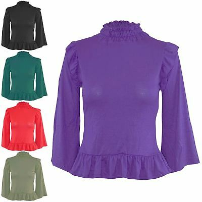 Womens Gather Sheering Turtle Neck Ruched Ladies Peplum Frill Bell Sleeve Top