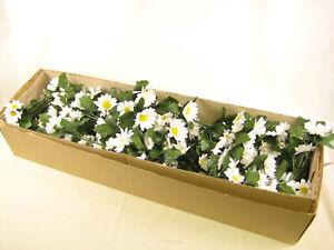 Ingrosso Fiori.6x All Ingrosso Di Seta Fiori Artificiali Bianco Daisy Cablata