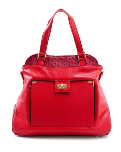 Satchel Large de Bandolera Julian Ethan Leather Faux Casual Nwt Red avestruz Adorno S4IApwv4qF