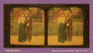 STEREO-VIEW-PANOPTIQUE-COLOR-LES-FIANCAILLES-COUPLE-FEMMES-COSTUMEES-R114