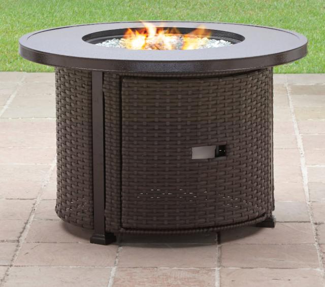 Round Wicker Outdoor Fire Pit Table Patio Backyard Heater Deck Bronze Gas  New