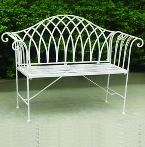 Sensational Details About Ornate Scrolled Metal Garden Bench Antique White Attractive Design Scroll Arms Ibusinesslaw Wood Chair Design Ideas Ibusinesslaworg