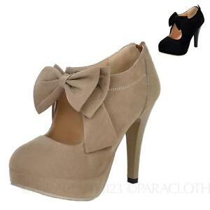 Suede-High-Heels-Bow-Celebrity-Womens-Lady-Shoes-Size-2-3-4-5-7-8-9-10-11-12-13
