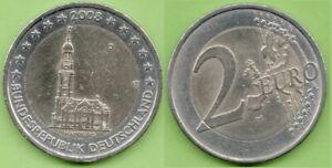 Allemagne; 2€, 2008, commémorative, Hambourg, atelier J, pièce ayant circulé