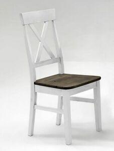 Details zu Küchenstuhl 2farbig weiß grau Kiefer holz stuhl Esszimmer Stühle  landhaus