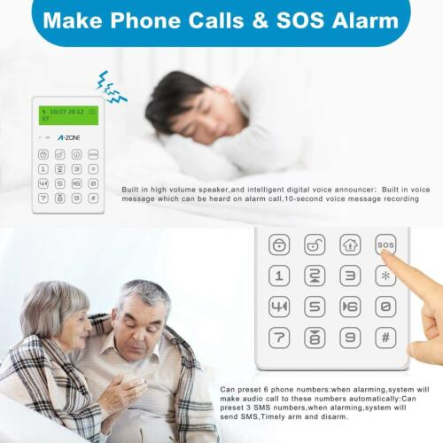 Door Wired Siren A-ZONE Mini GSM Alarm System Home Security Motion Sensors